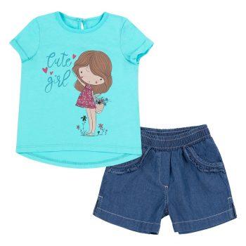Jean hlačice i majica za djevojčice ks625