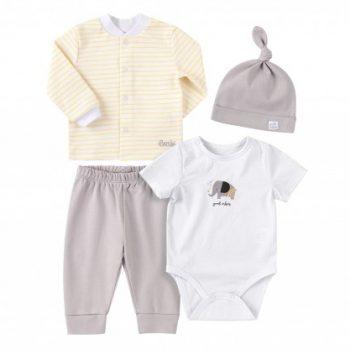 komplet za novorođenu bebu KP251 žuto-sivo