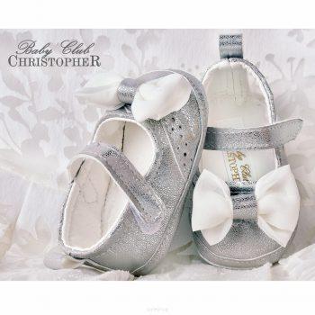 Balerinke za bebe srebrne s mašnom